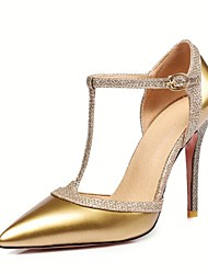 economico -Per donna Scarpe Vernice / Finta pelle Primavera / Estate Innovativo Tacchi A stiletto Appuntite Fibbia Argento / Rosso / Tessuto almond