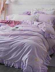 Sengesæt Ensfarvet 4 Dele Polyester/Bomuld Garn Bleget Polyester/Bomuld 1stk Dynebetræk 2stk Betræk 1stk Flad Lagen
