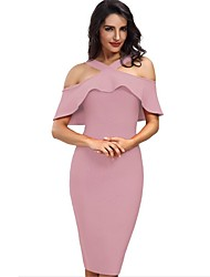 cheap -Women's Street chic Slim Sheath Dress - Solid Colored, Cut Out Halter