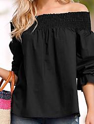 cheap -Women's Shirt - Solid, Ruffle Off Shoulder