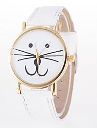 Недорогие -Жен. Модные часы Китайский Кварцевый Повседневные часы Кожа Группа Мультяшная тематика Кошка Белый