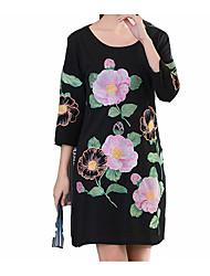 cheap -Women's Plus Size Cotton Little Black Dress - Solid Colored Basic / Spring