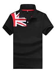 cheap -Men's Street chic Cotton Slim Polo - Striped Color Block Letter, Patchwork Shirt Collar