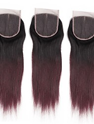 cheap -ALIMICE Brazilian Hair 4x4 Closure Straight Free Part / Middle Part / 3 Part Swiss Lace Remy Human Hair Color Gradient
