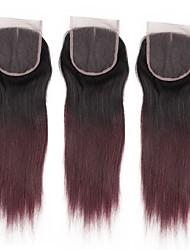 Недорогие -ALIMICE Бразильские волосы 4x4 Закрытие Прямой Бесплатный Часть / Средняя часть / 3 Часть Швейцарское кружево Remy Градиент