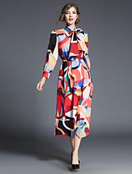 cheap -Women's Loose Dress - Geometric, Print