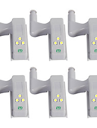 billiga -YWXLIGHT® 6pcs LED Night Light Kallvit Annan batteridrivenhet Garderob Skåp Auto switch Hemsäkerhet Dekorativ