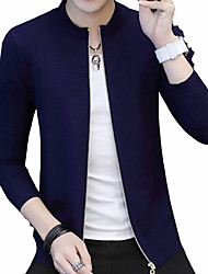 cheap -Men's Long Sleeves Slim Long Cardigan - Solid Colored Round Neck