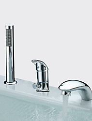 Недорогие -Современный Римская ванна Широко распространенный Керамический клапан Три отверстия Две ручки три отверстия Хром, Смеситель для ванны