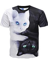 baratos -Homens Camiseta Moda de Rua / Punk & Góticas Estampa Colorida / Animal Decote Redondo / Manga Curta