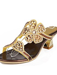cheap -Women's Shoes Polyurethane Spring / Summer Fashion Boots Sandals Chunky Heel Open Toe Rhinestone / Crystal / Sparkling Glitter Light Blue