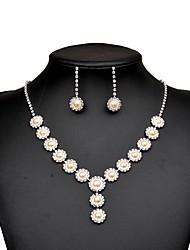 cheap -Women's Cubic Zirconia / Rhinestone Pearl / Imitation Diamond Drop Jewelry Set 1 Necklace / Earrings - Elegant Circle Silver Jewelry Set