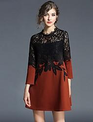 Недорогие -Жен. Оболочка Платье - Контрастных цветов, Классический