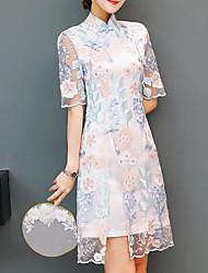 abordables -Mujer Tejido Oriental Vaina Vestido Floral Hasta la Rodilla