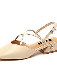 cheap -Women's Shoes PU Spring Summer Sandals Walking Shoes Chunky Heel Pointed Toe Buckle for Light Pink Dark Brown