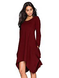 cheap -Women's Plus Size Basic Cotton Loose Loose Dress - Solid Colored Low Waist