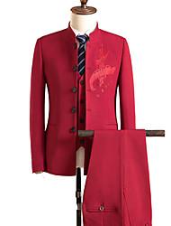 abordables -costumes Grandes Tailles Homme - Couleur Pleine Imprimé Chinoiserie Mao Brodée