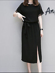 baratos -Mulheres Básico Reto Vestido Sólido Médio