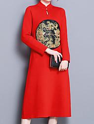 Недорогие -Жен. Шинуазери (китайский стиль) Свободный силуэт Платье - Однотонный, Вышивка Средней длины