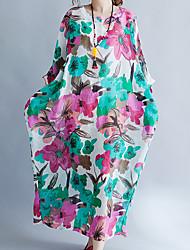Недорогие -Жен. Рукав флаттер А-силуэт Платье - Цветочный принт, С принтом Макси