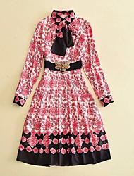 cheap -Women's Daily Vintage Sheath Midi Dress, Color Block Print Round Neck Long Sleeves Spring