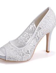 preiswerte -Damen Schuhe Spitze Frühling Sommer Pumps Hochzeit Schuhe Stöckelabsatz Peep Toe Spitze für Hochzeit Party & Festivität Weiß Schwarz Rosa