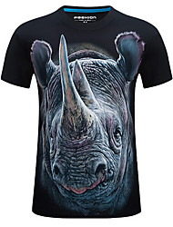 baratos -Homens Tamanhos Grandes Camiseta - Esportes Temática Asiática Estampado, Animal Algodão Decote Redondo