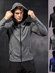 cheap -Men's Track Jacket - Black, Gray, Blue Sports Hoodie / Sweatshirt Exercise & Fitness, Running, Gym Long Sleeve Activewear Quick Dry, Breathable High Elasticity