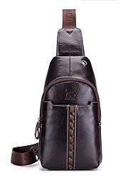 baratos -Homens Bolsas Pele Sling sacos de ombro Ziper Café