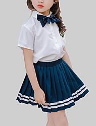 baratos -Para Meninas Diário Escola Listrado Conjunto, Raiom Verão Manga Curta Casual Azul