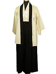 abordables -Cosplay Robes Kimono Femme Fête / Célébration Déguisement d'Halloween Tenue Noir / Beige Floral / Botanique Traditionnel / Vintage Kimonos