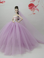 cheap -Dresses Dress For Barbie Doll Purple Tulle Lace Silk/Cotton Blend Dress For Girl's Doll Toy