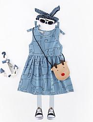 abordables -Robe Fille de Quotidien Galaxie Coton Lin Fibre de bambou Acrylique Printemps Sans Manches simple Rétro Bleu