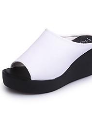 cheap -Women's Shoes PU Spring Summer Comfort Sandals Platform Open Toe for Casual Dress White Black