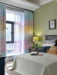 cheap -Curtains Drapes Kids Room Floral Graphic Prints Linen&Cotton Blend Printed