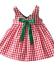 abordables -Robe Fille de Quotidien Vacances Couleur Pleine Tartan Coton Polyester Eté Sans Manches Basique Rouge