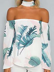 baratos -Mulheres Blusa - Feriado Estampado, Floral Ombro a Ombro Choker Folha tropical