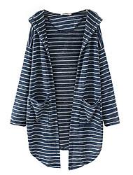 economico -Per donna Manica lunga Cardigan - Basic, A strisce Con cappuccio