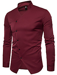 cheap -Men's Business Cotton Shirt - Solid Colored Standing Collar
