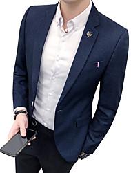 baratos -O trabalho diário dos homens, simples, primavera, queda, blazer regular, sólido v neck polyester spandex