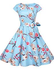 Недорогие -Жен. Активный Классический Хлопок Тонкие С летящей юбкой Платье - Цветочный принт, С принтом До колена Синий