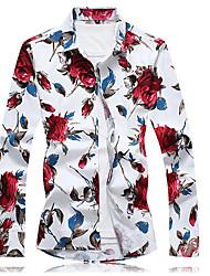 abordables -Chemise Grandes Tailles Homme, Fleur Chinoiserie Coton