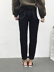 baratos -Mulheres Algodão Skinny Jeans Calças - Sólido Bordado