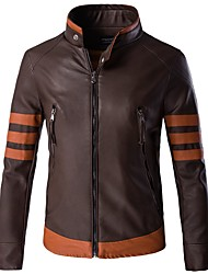 cheap -Men's Plus Size Leather Jacket - Solid Colored Stand