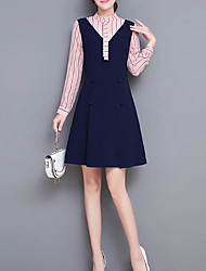 Недорогие -Жен. Тонкие Оболочка Платье - Контрастных цветов Вырез под горло До колена