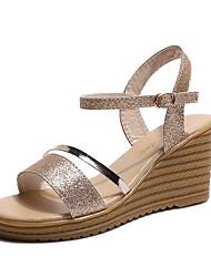 preiswerte -Damen Schuhe PU Sommer Komfort Sandalen Keilabsatz für Draussen Gold Silber