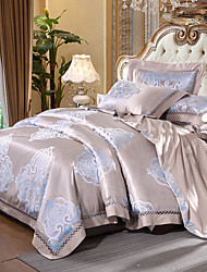cheap -Duvet Cover Sets Floral Luxury 4 Piece Silk/Cotton Blend Jacquard Silk/Cotton Blend 1pc Duvet Cover 2pcs Shams 1pc Flat Sheet