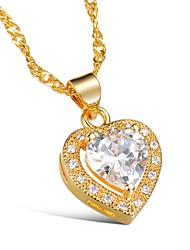 cheap -Women's Heart Cubic Zirconia Rhinestone Gold Choker Necklace Pendant Necklace - Simple Classic Elegant Flower Heart Gold Necklace For