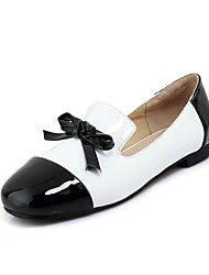 cheap -Women's Shoes Patent Leather Spring / Fall Ballerina Flats Flat Heel Square Toe Bowknot Black / Red