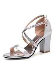 Mulheres Sapatos Materiais Customizados Gliter Verão Inovador Conforto Sandálias Salto Robusto Dedo Aberto para Casamento Escritório e